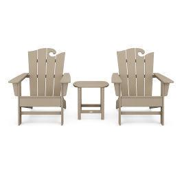 Polywood Furnishings - Wave 3-Piece Adirondack Set with The Ocean Chair in Vintage Sahara