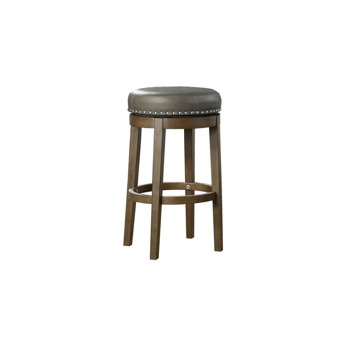 Round Swivel Pub Height Stool, Gray