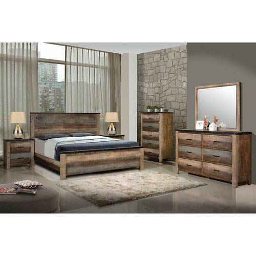 Sembene Bedroom Rustic Antique Multi-color Queen Four-piece Set