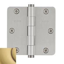 """View Product - Satin Brass and Brown 1/4"""" Radius Corner Hinge"""