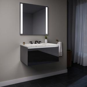 "Curated Cartesian 24"" X 15"" X 21"" Single Drawer Vanity In Tinted Gray Mirror Glass With Slow-close Plumbing Drawer, Night Light and Engineered Stone 25"" Vanity Top In Silestone Lyra Product Image"