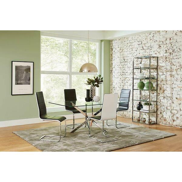 See Details - Broderick Contemporary Chrome and Black Dining Chair
