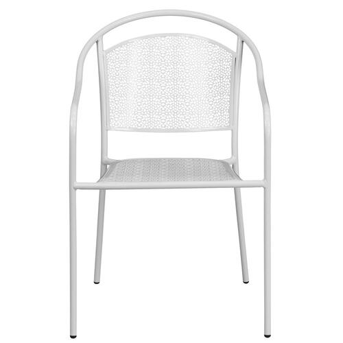 White Indoor-Outdoor Steel Patio Arm Chair with Round Back