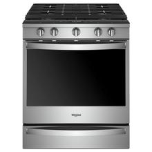 View Product - 5.8 cu. ft. Smart Slide-in Gas Range with EZ-2-Lift™ Hinged Cast-Iron Grates Fingerprint Resistant Stainless Steel