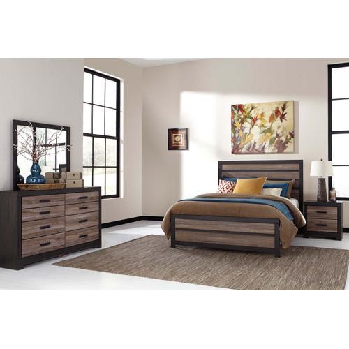 6 Piece Set (3 Piece Queen Bed, Dresser, Mirror and Nightstand)