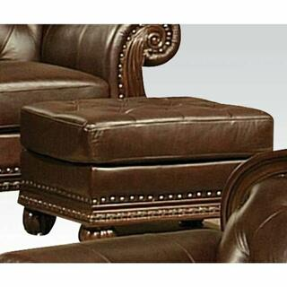 ACME Anondale Ottoman - 15034 - Espresso Top Grain Leather Match