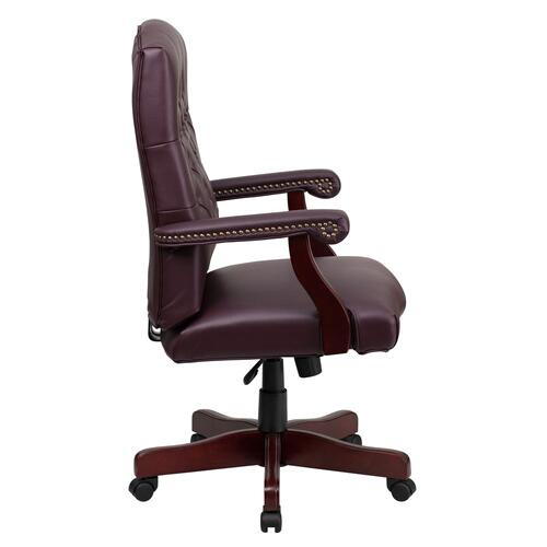 Martha Washington Burgundy Leather Executive Swivel Chair with Arms