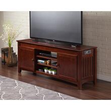 See Details - Mission 60 inch Entertainment Console with Adjustable Shelves and Charging Station in Walnut