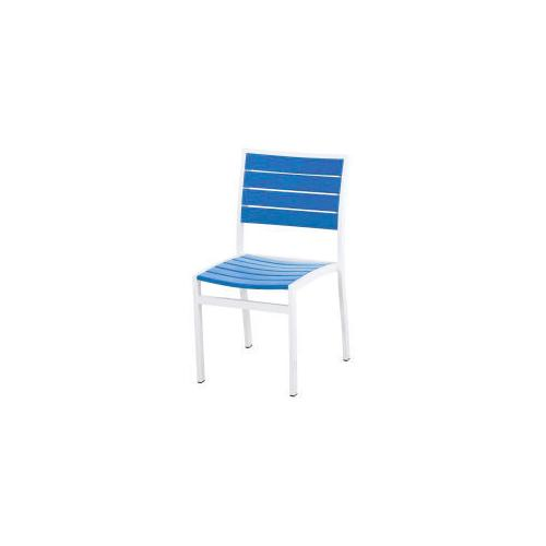 Polywood Furnishings - Eurou2122 Dining Side Chair in Satin White / Pacific Blue
