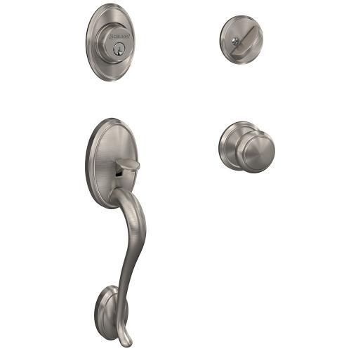 Custom Wakefield Single Cylinder Handleset and Interior Andover Knob with Alden Trim - Aged Bronze