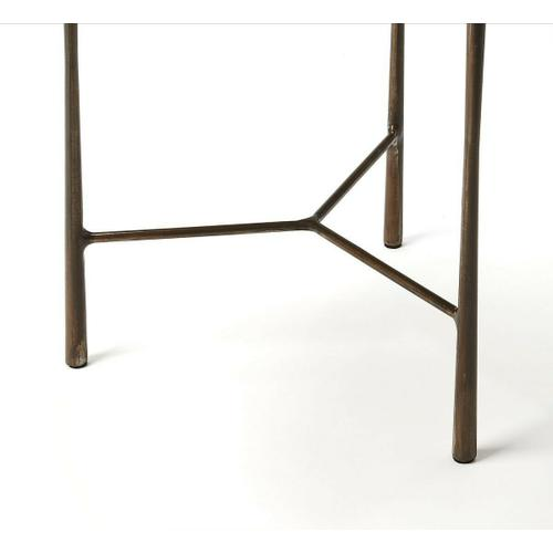 Butler Specialty Company - This round live edge end table makes a great addition in a living room or office. Its forged iron base supports a solid acacia wood top for a unique modern aesthetic.