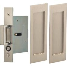 Passage Pocket Door Lock with Modern Rectangular Trim featuring Mortise Edge Pull in (US15 Satin Nickel Plated, Lacquered)