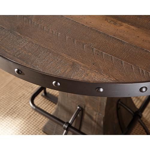 Hillsdale Furniture - Jennings Round Counter Height Table - Distressed Walnut Wood / Brown Metal