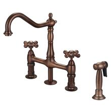 Emral Kitchen Bridge Faucet with Metal Cross Handles - Oil Rubbed Bronze