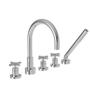 Matte White Roman Tub Faucet with Hand Shower