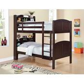 Parker Transitional Cappuccino Twin-over-twin Bookcase Bunk Bed