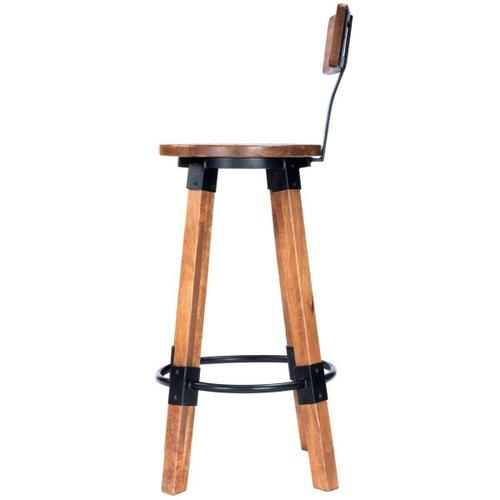 Add style to your space with this industrial inspired bar stool. The textured appearance compliments the mango wood and black iron accents. The built-in footrest and backrest offer an extra comfort to the sturdy design. Coordinating SKUs: 5478330, 5479330, 5481330, 5482330