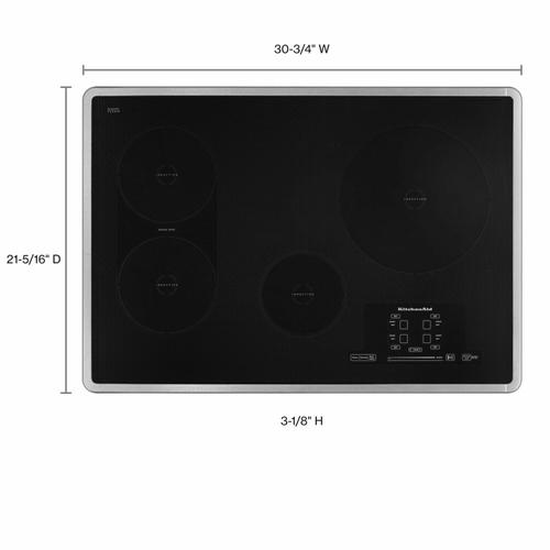KitchenAid - 30-Inch 4 Element Induction Cooktop, Architect® Series II - Stainless Steel