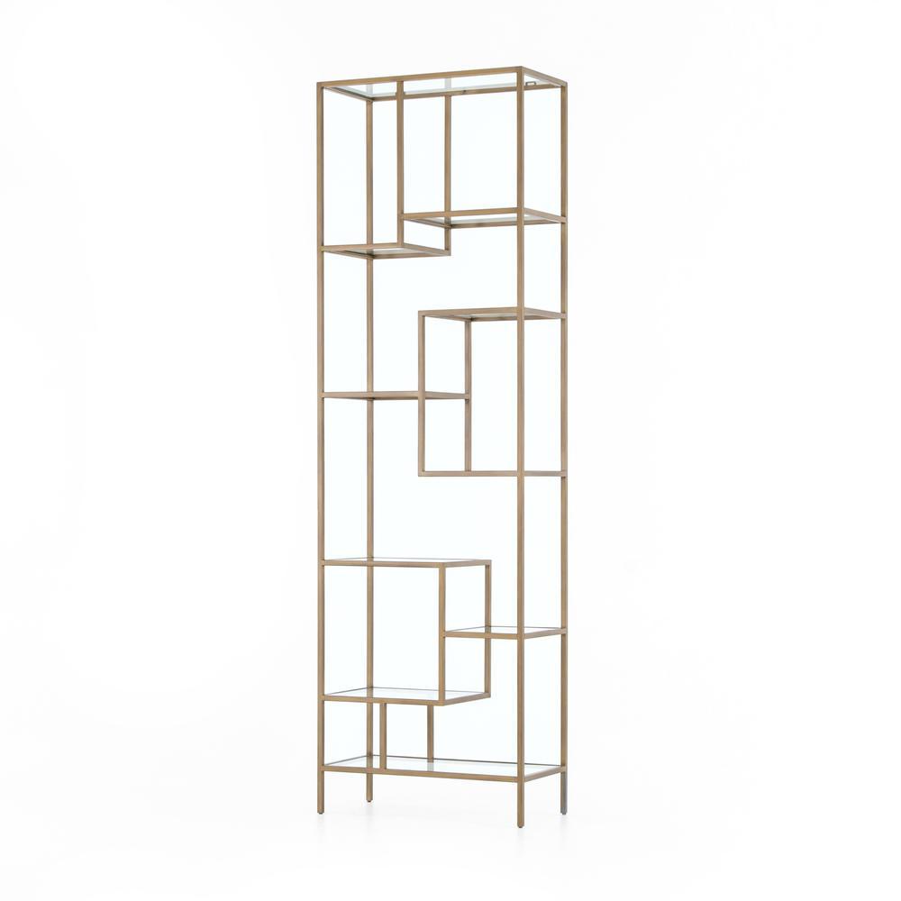 """102"""" Size Helena Brass Bookcase"""