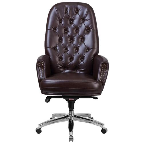 Alamont Furniture - High Back Traditional Tufted Brown Leather Multifunction Executive Swivel Chair with Arms