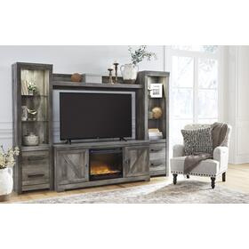 Wynnlow 5 Piece Entertainment Set W/Fireplace Insert Gray