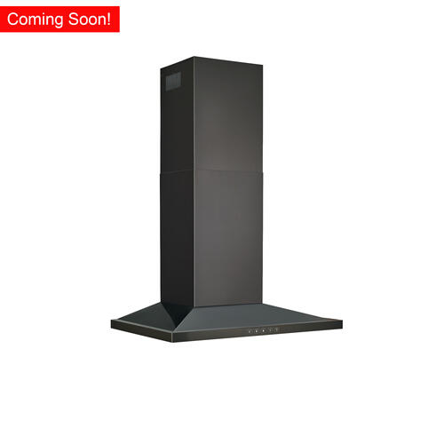 Broan® 30-Inch Convertible Wall-Mount Low Profile Pyramidal Chimney Range Hood, 450 MAX CFM, Black Stainless Steel