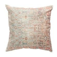 """See Details - 24"""" Square Cotton Distressed Print Pillow, Multi Color"""