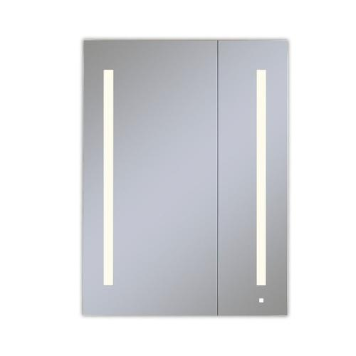 """Aio 29-1/4"""" X 40"""" X 4"""" Dual Door Lighted Cabinet With Large Door At Left With Lum LED Lighting In Soft White (2700k), Dimmable, Built-in Om Audio, Interior Lighting, Electrical Outlet, Usb Charging Ports and Magnetic Storage Strip"""