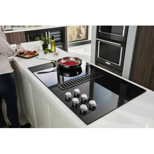 """KitchenAid - 36"""" Electric Downdraft Cooktop with 5 Elements - Black"""