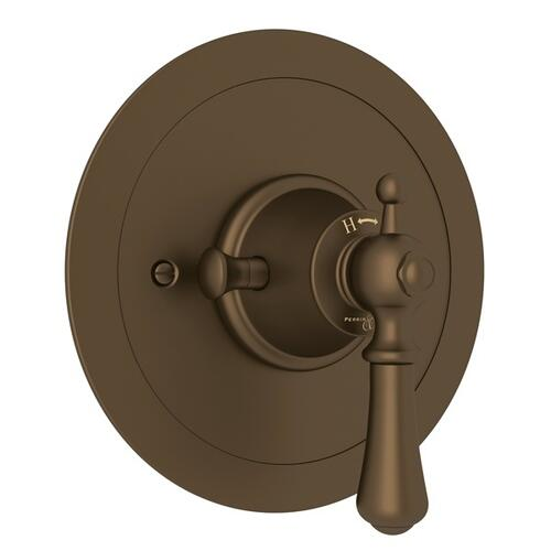 English Bronze Perrin & Rowe Georgian Era Round Thermostatic Trim Plate Without Volume Control with Georgian Era Solid Metal Lever