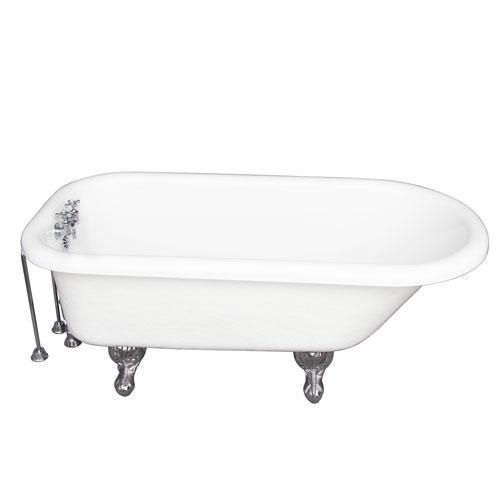 """Atlin 67"""" Acrylic Roll Top Tub Kit in White - Polished Chrome Accessories"""
