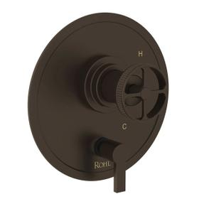 Campo Pressure Balance Trim with Diverter - Tuscan Brass with Industrial Metal Wheel Handle
