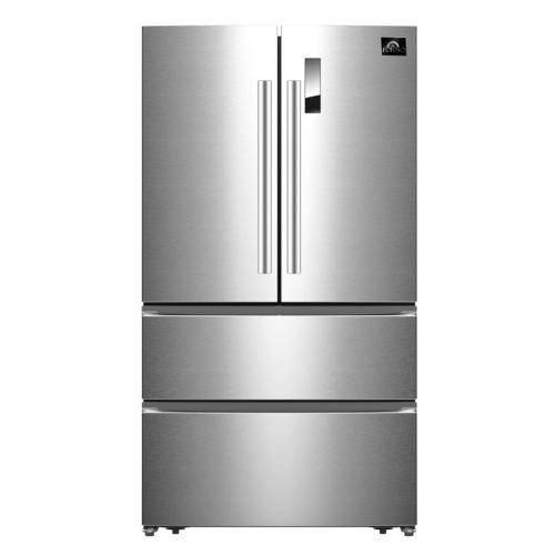 Forno - Bovino - 33inch counter depth 19 CU.FT French Door No Frost Refrigerator Stainless Steel