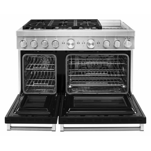 KitchenAid - KitchenAid® 48'' Smart Commercial-Style Dual Fuel Range with Griddle - Imperial Black