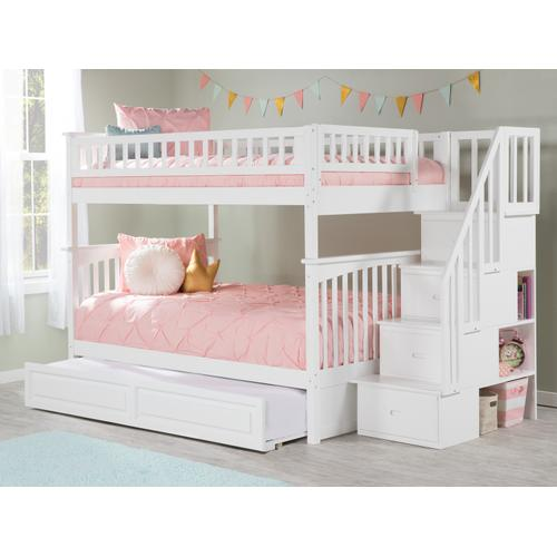 Columbia Staircase Bunk Bed Full over Full with Raised Panel Trundle Bed in White