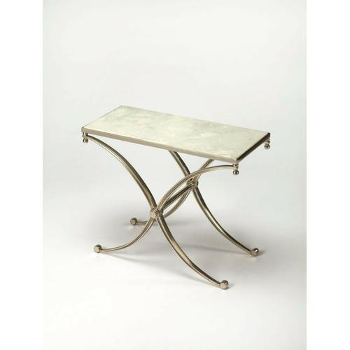 The iron base of this high-styled end table is reminiscent of sleek propeller blades: strong and shiny with lots of curve. Paired with a subtlely veined white marble top, this gracious end table is an inspired addition in any space.