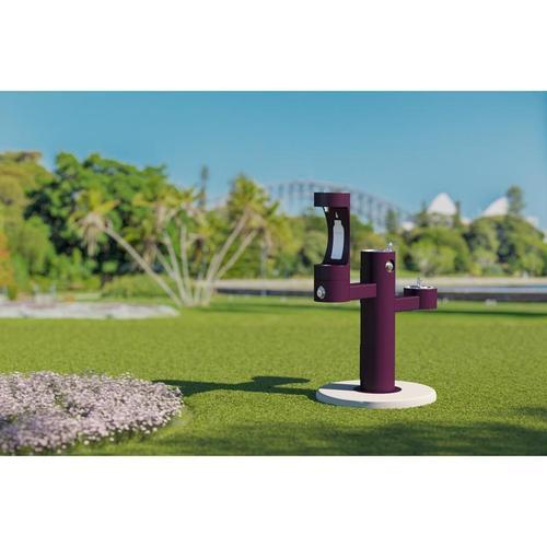 Elkay - Elkay Outdoor EZH2O Bottle Filling Station Tri-Level Pedestal, Non-Filtered Non-Refrigerated Purple