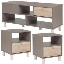 3 Piece Coffee and End Table in Gray Finish with Sonoma Oak Wood Grain Drawers