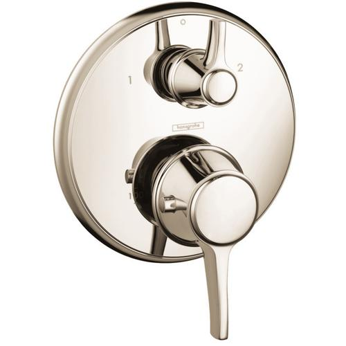Polished Nickel Thermostatic Trim with Volume Control and Diverter, Round