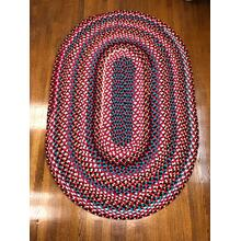 "Hometown Braided Rug Red Braided Rugs 4' x 6'(Actual size 48"" x 72"")"