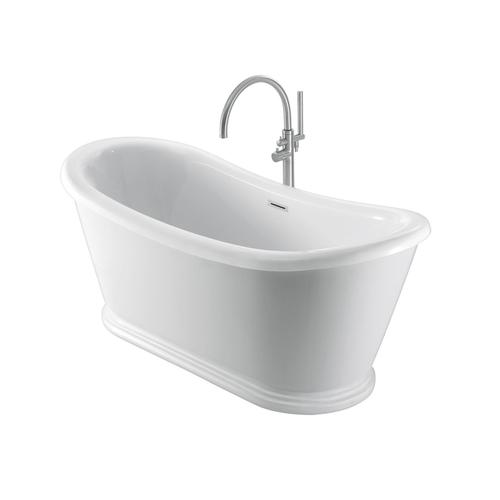 "Morgan 70"" Acrylic Double Slipper Tub with Integral Drain and Overflow - Matte Black Drain and Overflow"
