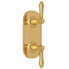 1/2 Inch Thermostatic and Diverter Control Trim - Italian Brass with Metal Lever Handle