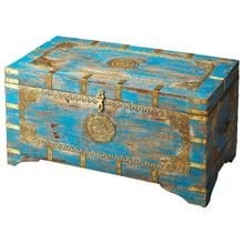 See Details - The blue and gold of the Neela storage trunk will really pop in your room. The brass inlays add crafty design to this beautiful piece, and the mango wood creates a study storage compartment.