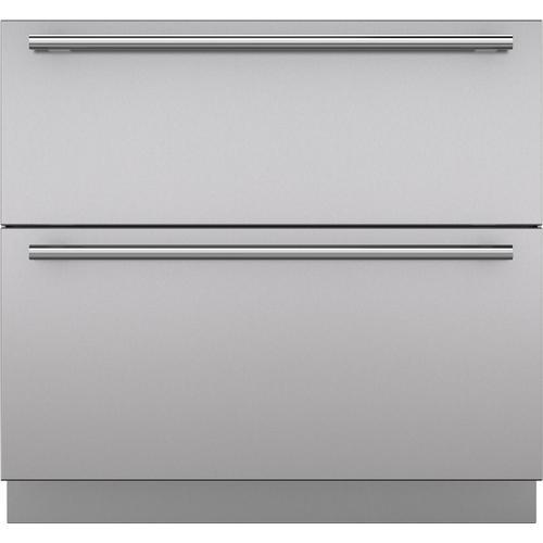 "Sub-Zero - Stainless Steel 36"" Drawer Panels with Tubular Handles"
