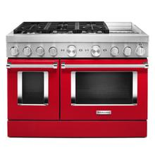 KitchenAid® 48'' Smart Commercial-Style Dual Fuel Range with Griddle Passion Red