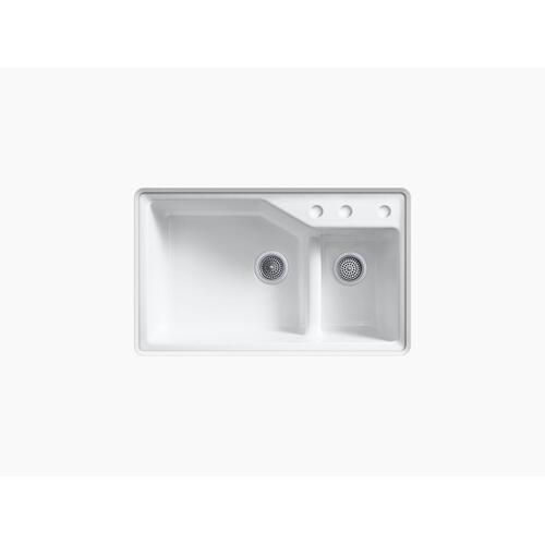 "Dune 33"" X 21-1/8"" X 9-3/4"" Smart Divide Undermount Double-bowl Large/small Workstation Kitchen Sink With Three-hole Faucet Holes"