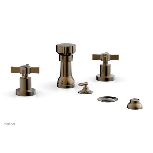 BASIC Four Hole Bidet Set - Blade Cross Handles D4137 - Antique Brass