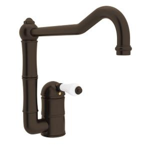 Acqui Single Hole Column Spout Kitchen Faucet with Extended Spout - Tuscan Brass with White Porcelain Lever Handle