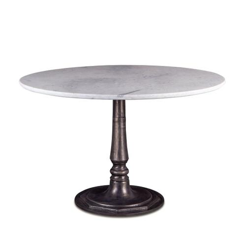 """Palm Springs 48"""" Round Dining Table White Marble, Cafe Base"""