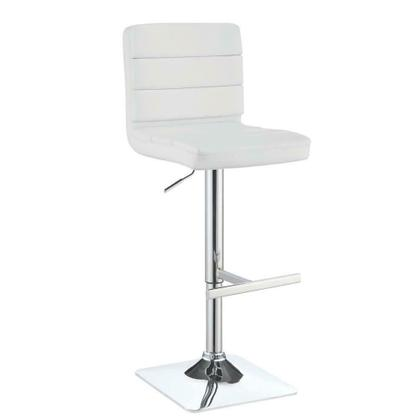See Details - Contemporary Adjustable White Bar Stool With Chrome Finish